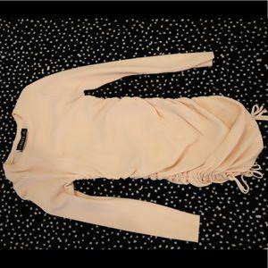 Long sleeve peach rouged dress
